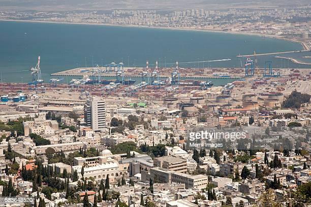 Modern port of Haifa, Israel