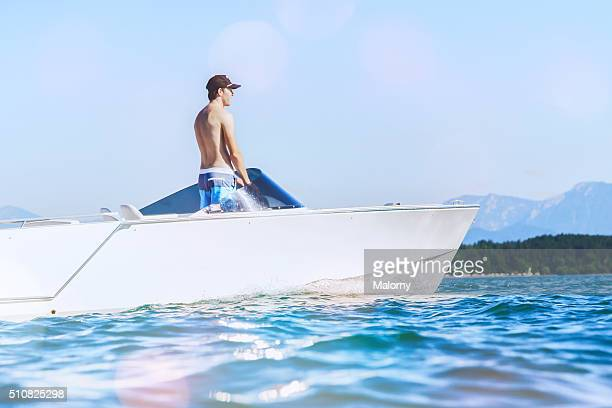 Modern Power Or Motor Boat With Electric Engine / Motor