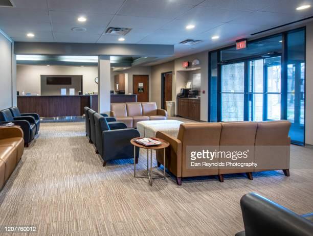 modern reception area - advertising column stock-fotos und bilder