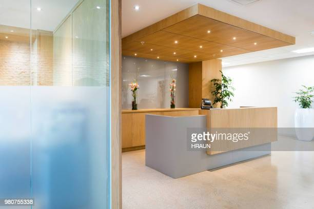 Modern reception in office or hotel. Empty space.