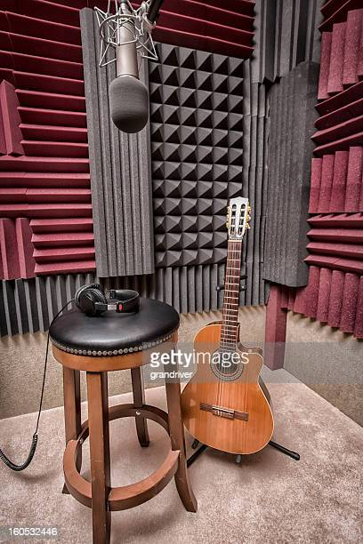 Modern Recording Booth with Mic, Guitar and Headphones
