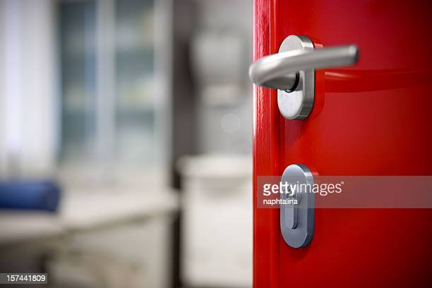 modern red door - handle stock pictures, royalty-free photos & images