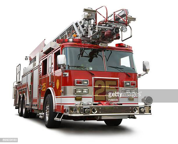 modern red fire engine truck isolated on white clipping path - firetruck stock photos and pictures