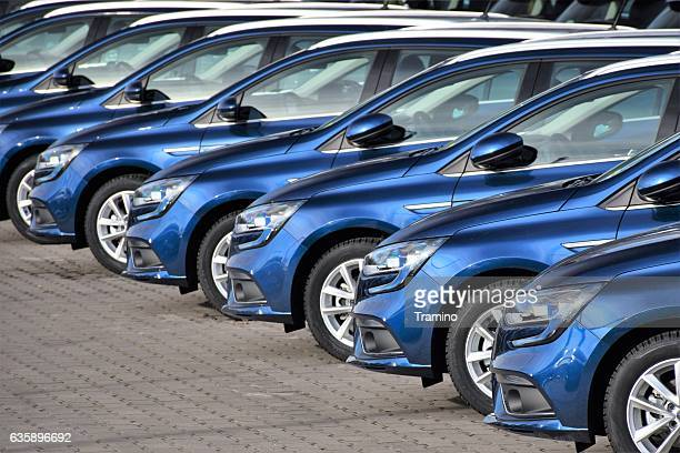 Modern Renault Megane vehicles on the parking