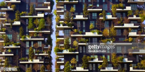 modern residantial district bosco verticale - bosco verticale milano foto e immagini stock