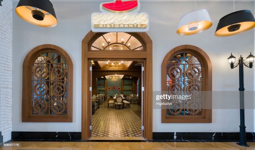 Modern Restaurant Exterior Entrance Part Of A Hotel Stock Photo ...