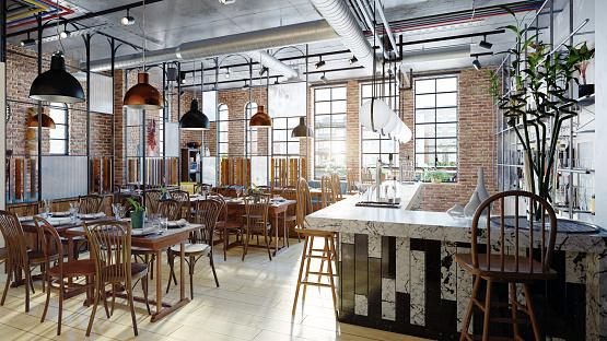 modern restaurant interior design. 1073667618