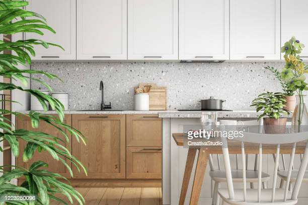 modern scandinavian kitchen and dining room interior stock photo - bright beautiful flowers stock pictures, royalty-free photos & images