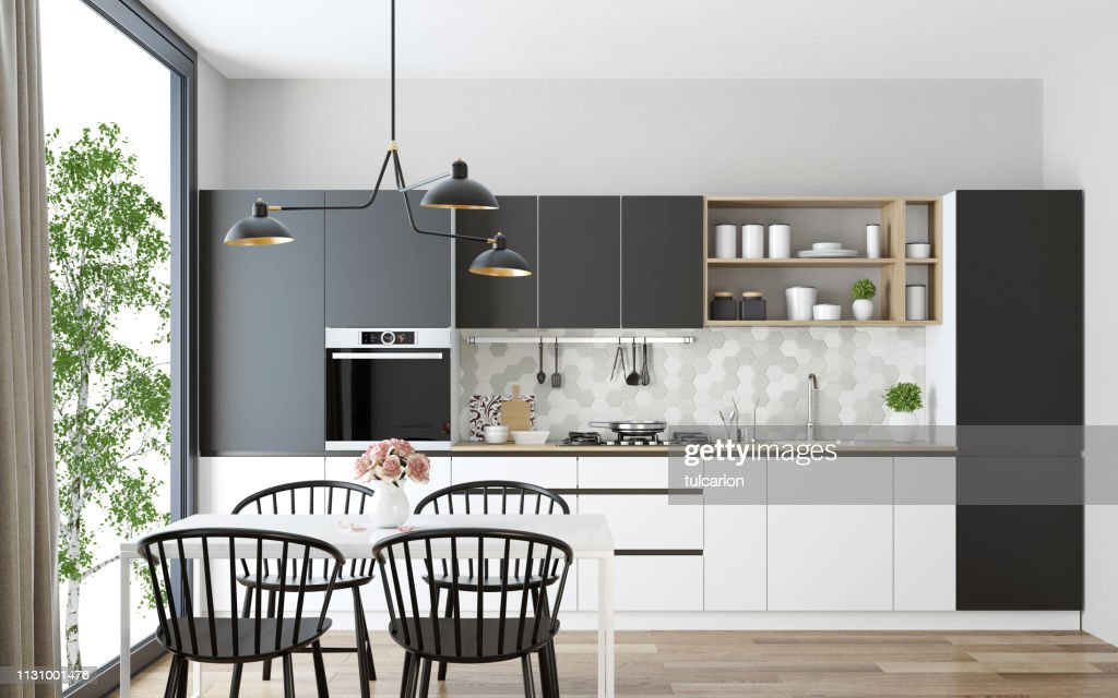 Modern Scandinavian kitchen and dining room : Stock Photo
