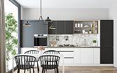 Modern Scandinavian kitchen and dining room