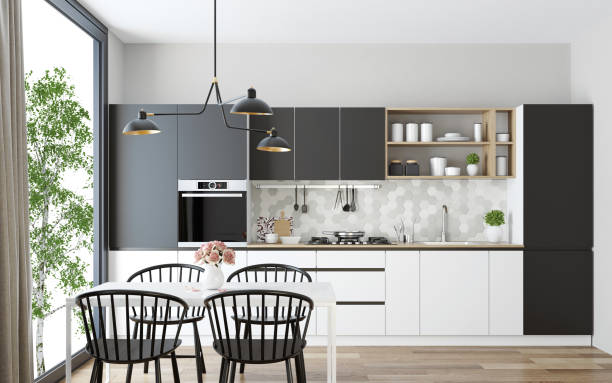 modern scandinavian kitchen and dining room - kitchen stock pictures, royalty-free photos & images