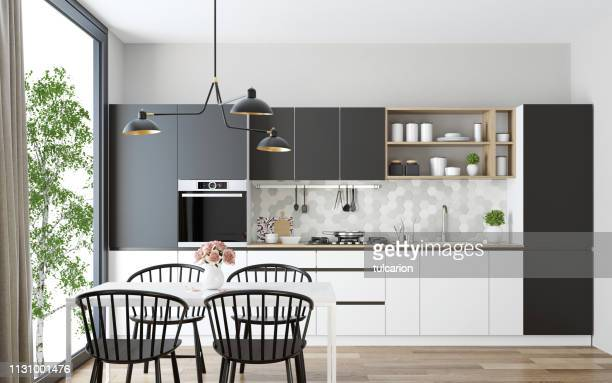 modern scandinavian kitchen and dining room - residential building stock pictures, royalty-free photos & images