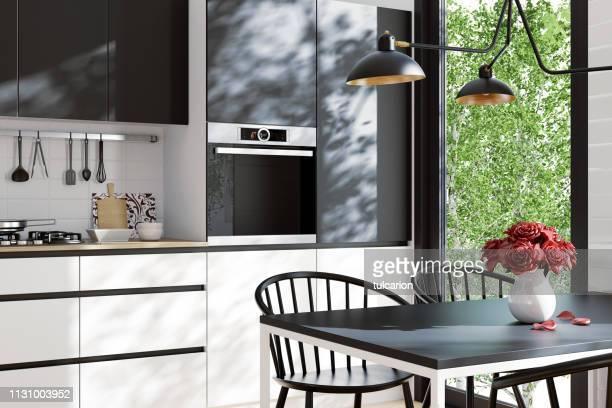 cuisine scandinave moderne et salle à manger - cuisine non professionnelle photos et images de collection
