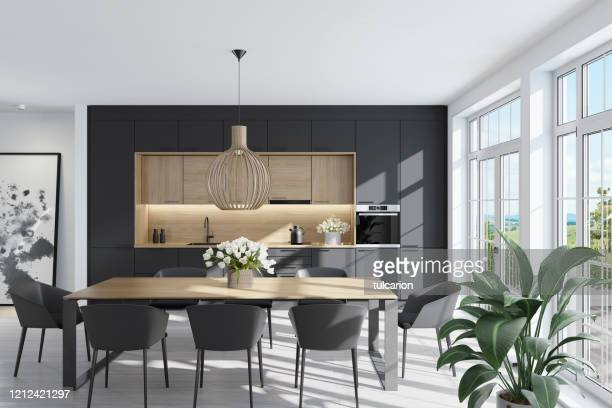 modern scandinavian kitchen and dining room - scandinavia stock pictures, royalty-free photos & images