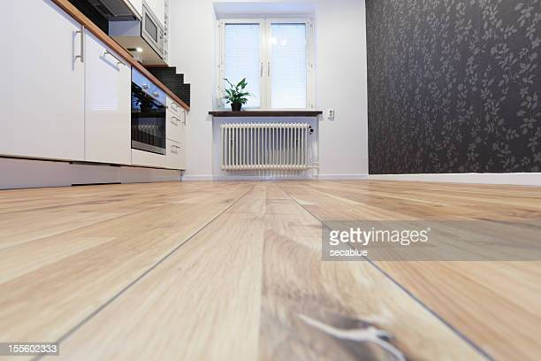 modern scandinavian kitchen - flooring stock photos and pictures