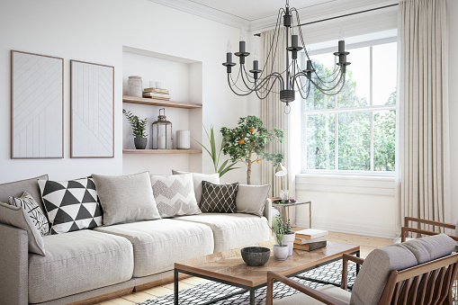 Modern scandinavian living room interior - 3d render 1039616694