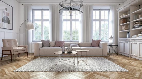 Modern scandinavian living room interior - 3d render 1152343454