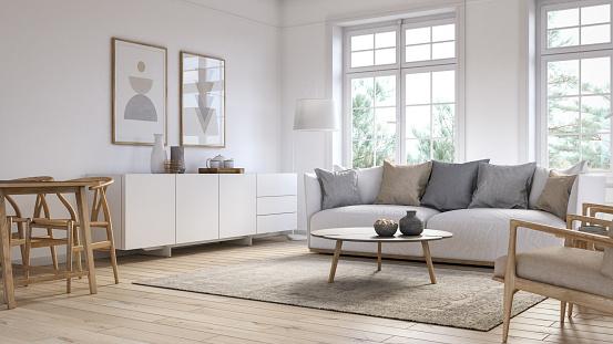 Modern scandinavian living room interior - 3d render 1158997386