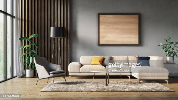 modern scandinavian living room interior - 3d render - carpet decor stock photos and pictures