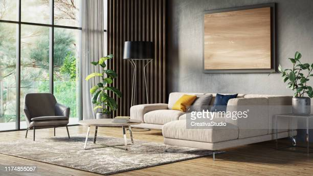 modern scandinavian living room interior - 3d render - carpet decor stock pictures, royalty-free photos & images
