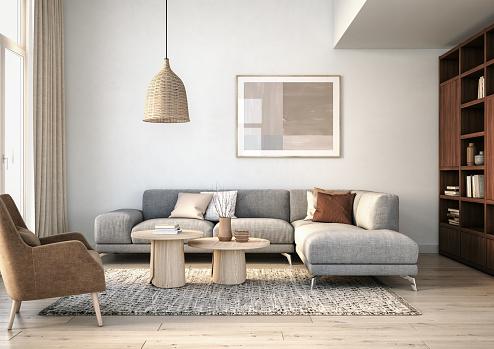 Modern scandinavian living room interior - 3d render 1184204517