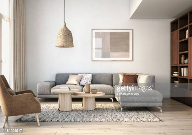 modern scandinavian living room interior - 3d render - domestic room stock pictures, royalty-free photos & images