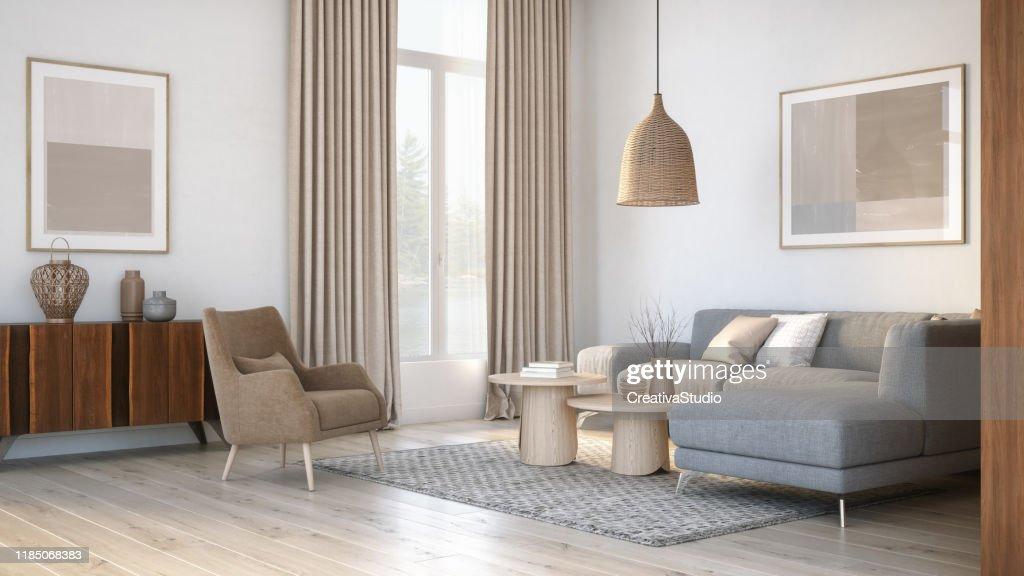 Moderne Scandinavische woonkamer interieur-3D renderen : Stockfoto