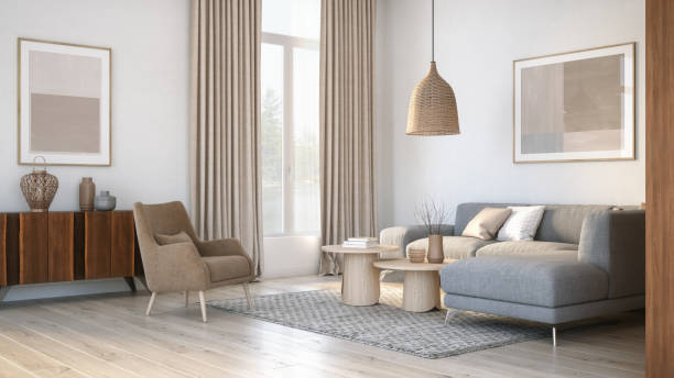 modern scandinavian living room interior - 3d render - indoors stock pictures, royalty-free photos & images