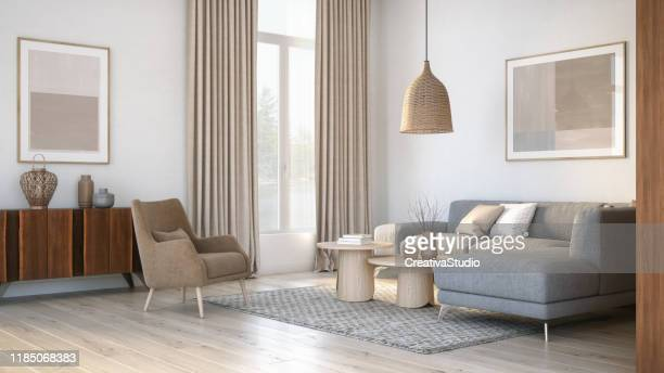 modern scandinavian living room interior - 3d render - cosy stock pictures, royalty-free photos & images