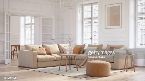 moderne skandinavische wohnzimmer interieur - 3d render - beige stock-fotos und bilder