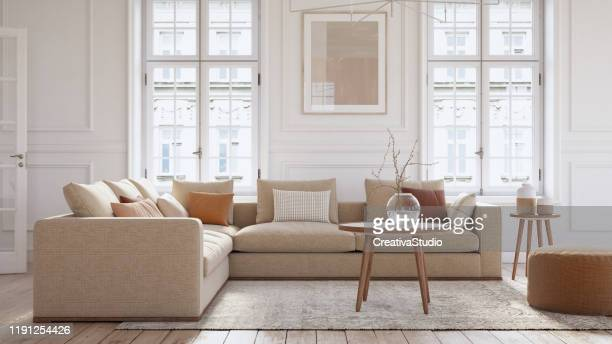 modern scandinavian living room interior - 3d render - nordic countries stock pictures, royalty-free photos & images