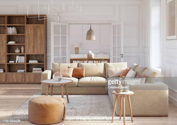 modern scandinavian living room interior - 3d render - scandinavia stock pictures, royalty-free photos & images