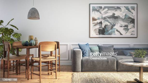 modern scandinavian living room interior - 3d render - living room stock pictures, royalty-free photos & images