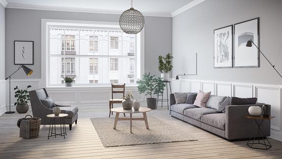 Modern scandinavian living room interior - 3d render 961334436