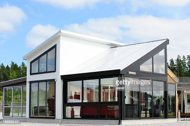 modern scandinavian style villa - facade stock pictures, royalty-free photos & images