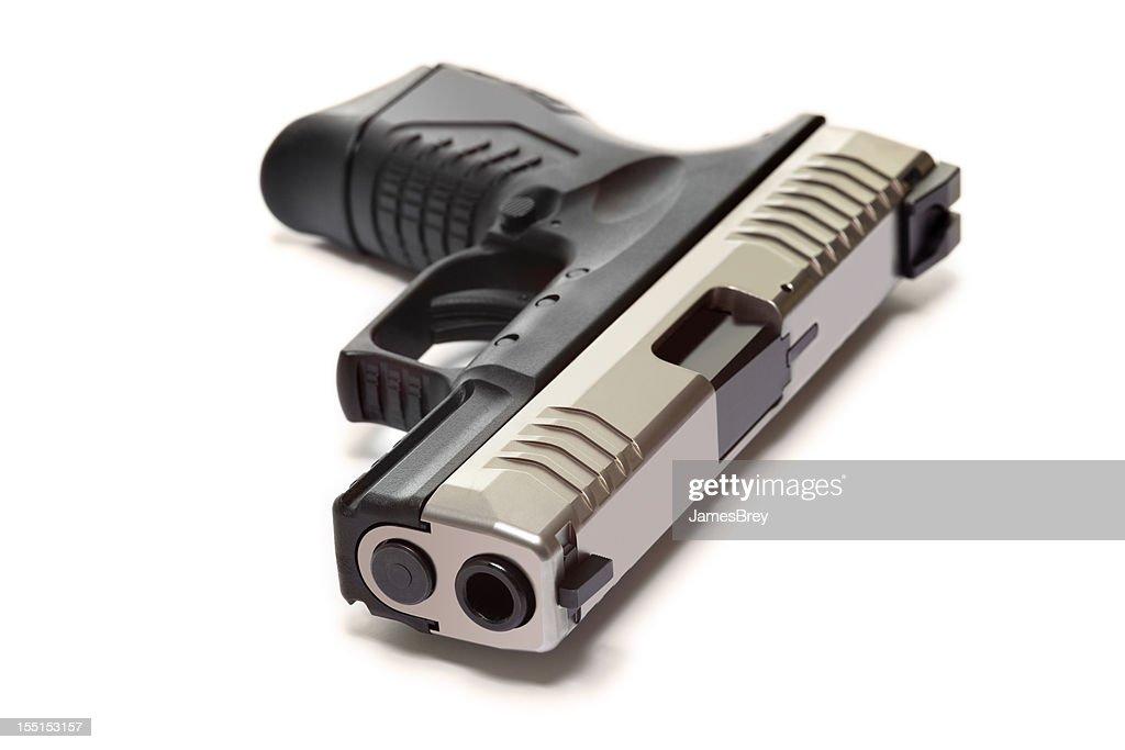 Modern Semiautomatic Handgun Isolated On White : Stock Photo