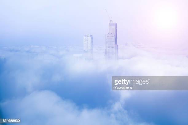 modern Shanghai building in the cloud sea