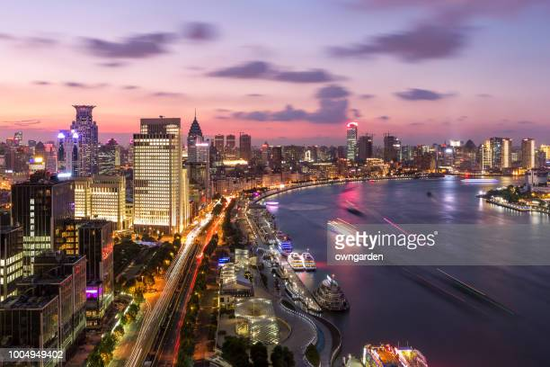 modern shanghai skyline - passenger craft stock pictures, royalty-free photos & images
