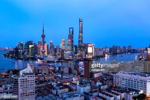 moderne shanghai skyline - zonsopgangen en zonsondergangen stockfoto's en -beelden