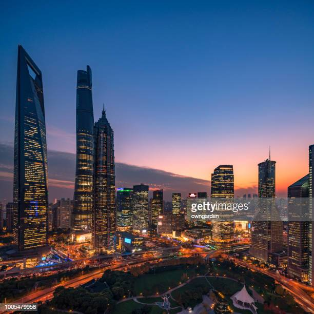 modern shanghai skyline - lujiazui stock photos and pictures