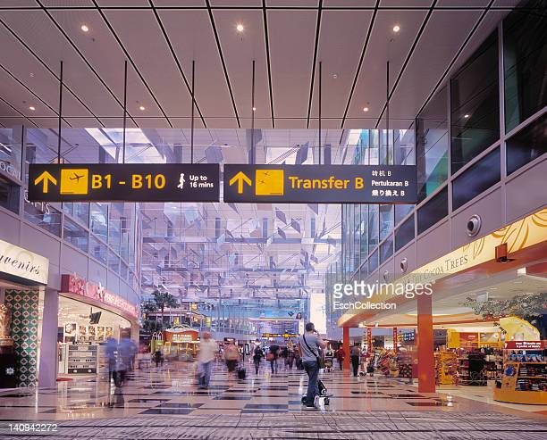 Modern shopping area with displays at airport
