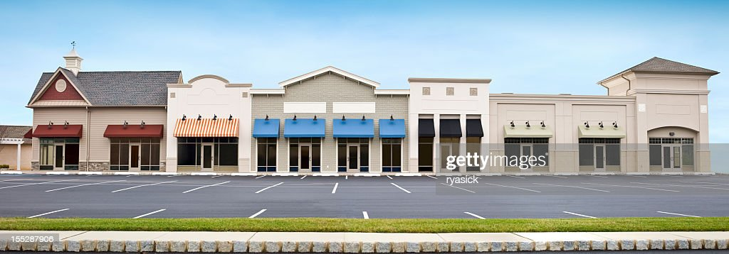 Modern Shopping Plaza Store Front Panoramic with Empty Parking Lot : Stock Photo
