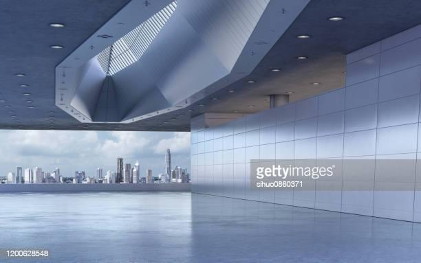 scène moderne de fond de salle d'exposition - scène urbaine photos et images de collection