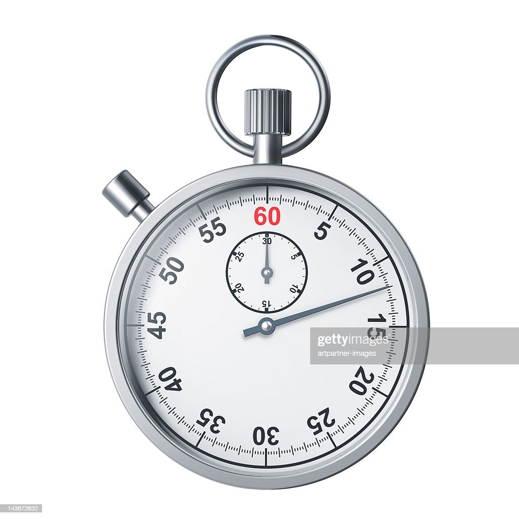 A modern silver stopwatch on white background : Foto de stock