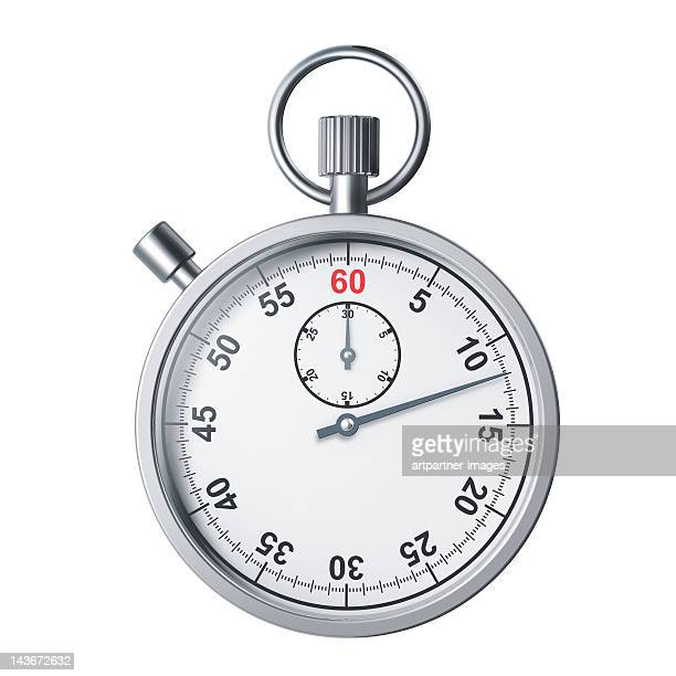 A modern silver stopwatch on white background