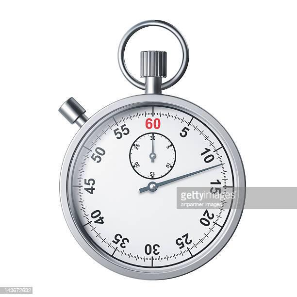 a modern silver stopwatch on white background - ampulheta imagens e fotografias de stock