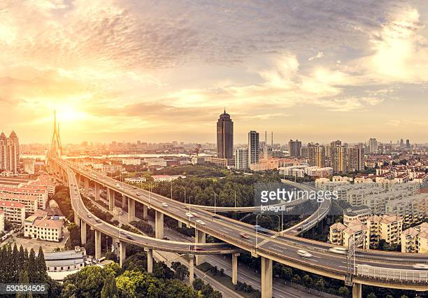 modern skyline, cityscape  and traffic of  shanghai,China.