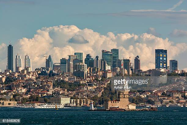 modern skyline of istanbul as seen from the bosphorus, turkey - istanbul stock photos and pictures