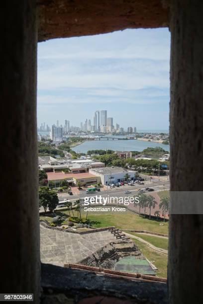 Modern Skyline seen from Castillo San Felipe, Cartagena, Colombia