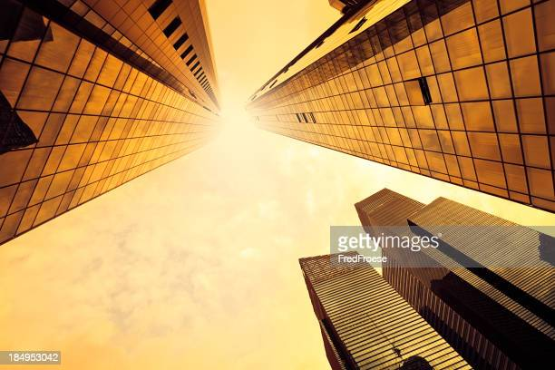 Modern skyscraper against Sunlight